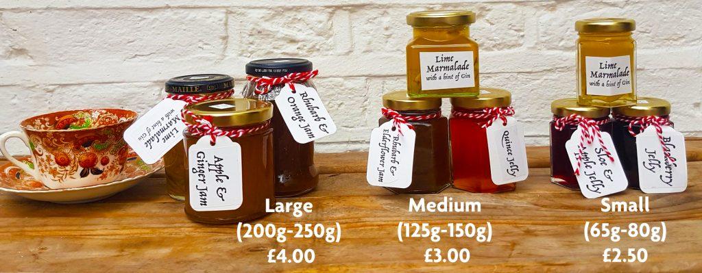 Jam sizes left to right: large, medium, small